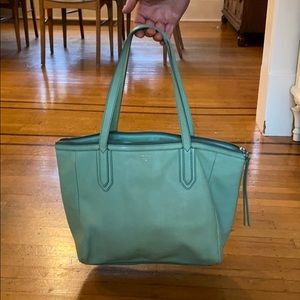 Green leather Fossil Keyper tote